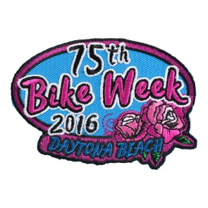 2016 Daytona Beach Bike Week 75th Pink Rose Oval Event Patch
