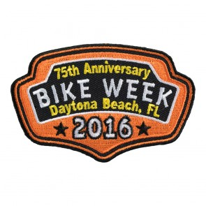 2017 Daytona Bike Week 76th Anniversary Orange Plaque Event Patch