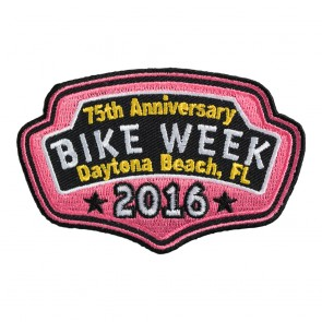 2016 Daytona Bike Week 75th Anniversary Pink Plaque Event Patch