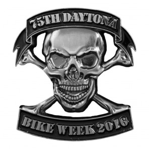 2016 Daytona Bike Week 75th Skull & Cross Bones Motorcycle Event Pin