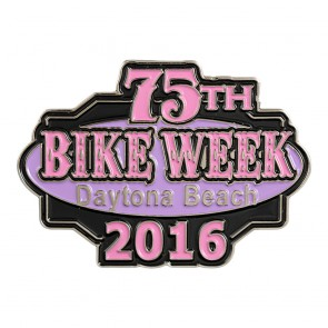 75th Annual Daytona Beach Bike Week Pink & Black Event Pin