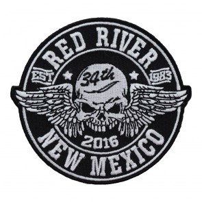 Sew On & iron On 2016 Red River Winged Skull Black & White Event Patch
