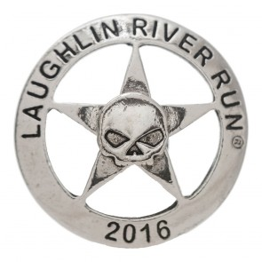 2016 Laughlin River Run Sherif Badge With Half Skull Silver Event Pin