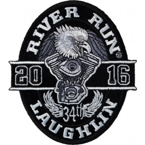 Embroidered 2016 Laughlin River Run Black Oval Eagle Event Patch