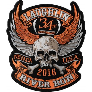 Laughlin River Run Orange Winged Skull Crossbones Event Patch