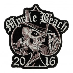 Embroidered 2016 Myrtle Beach Top Hat Skull Spade Event Patch