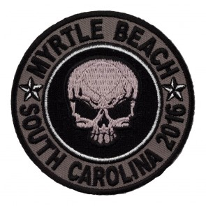 2016 Myrtle Beach Grey Skull Round Sew On Event Patch