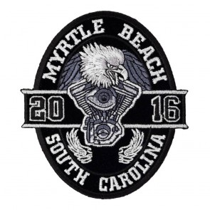 Traditional 2016 Myrtle Beach Black Oval Eagle Event Patch