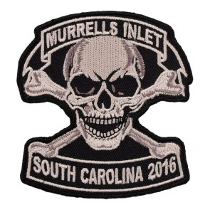 Embroidered 2016 Murrells Inlet Tan Skull & Crossbones Event Patch