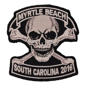 Embroidered 2016 Myrtle Beach Tan Skull & Crossbones Event Patch
