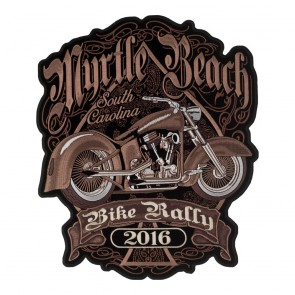Embroidered 2016 Myrtle Beach Brown Retro Bike Event Patch