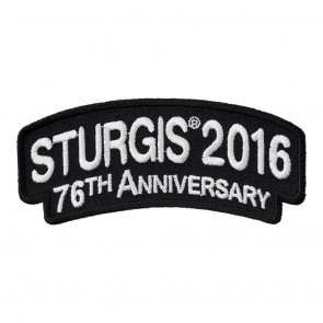 2016 Sturgis 76th Anniversary White Rocker Sew On Event Patch