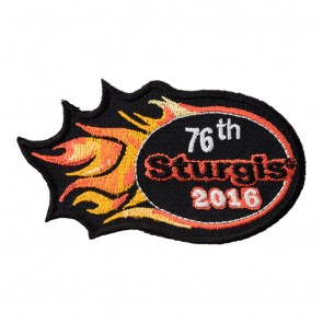 Embroidered 2016 Sturgis 76th Motorcycle Rally Orange Flames Event Patch