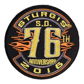2016 Sturgis 76th Anniversary Yellow Tribal Flames Round Event Patch