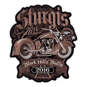 2016 Sturgis Black Hills Rally Brown Retro Bike Embroidered Event Patch