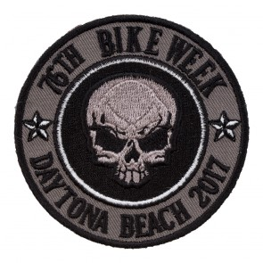 2017 Daytona Bike Week 76th Grey Skull Round Event Patch