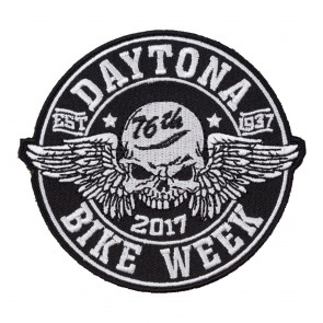 2017 Daytona Bike Week 76th Winged Skull Black & White Event Patch