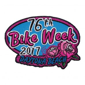 2017 Daytona Beach Bike Week 76th Pink Rose Oval Event Patch