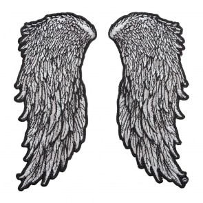 Grey Feathered Angel Wings Embroidery Patch