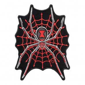 Embroidered Black Widow Red Spider Web Patch