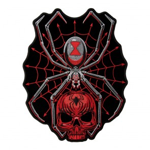 Black Widow Spider Web Red Skull Sew On Patch