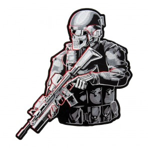 Embroidered Armed Tactical Soldier Skeleton Patch