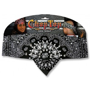 Black With White Paisley & Rhinestones Ladies Chop Top Bandana