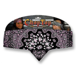 Ladies Black With Pink Paisley & Rhinestones Chop Top Bandana