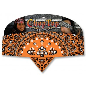 Orange Salmon Girlfriend Paisley & Rhinestones Chop Top Bandana
