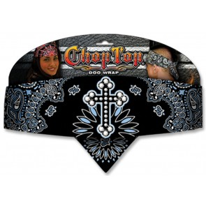 Black & Blue Cross Rhinestones Adjustable Chop Top Bandana