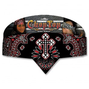 Black & Red Paisly Rhinestone Studded Cross Adjustable Chop Top Bandana