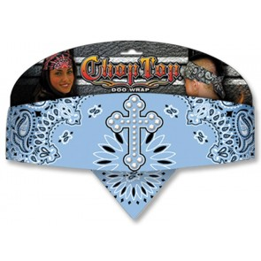 Light Blue Paisly Rhinestone Cross Adjustable Chop Top Bandana