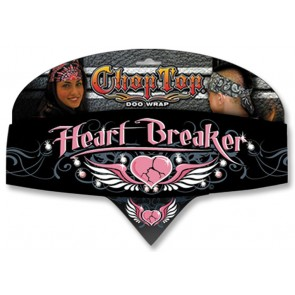Pink Heart Breaker Rhinestones Heart & Wings Chop Top Bandana