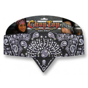 Black & White Skull & Bones Studded Chop Top Bandana