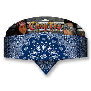 Traditional Navy Blue & White Paisley Chop Top Bandana