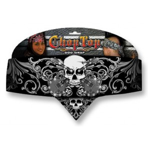 Black Guitars & Skull Studded Adjustable Chop Top Bandana