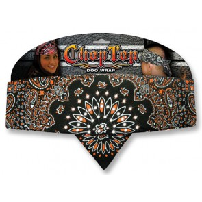Black With Orange Paisley & Rhinestones Adjustable Chop Top Bandana