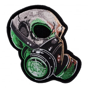 Embroidered Gas Mask Green Haze Skull Patch
