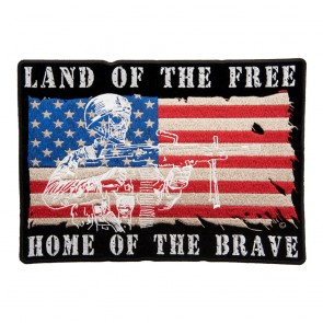 Iron On Land Of The Free Home Of The Brave Patch