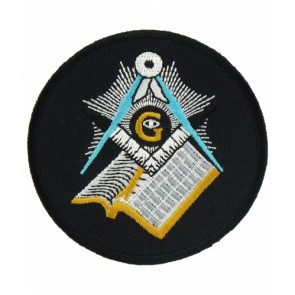 Freemasons Black, White, Blue & Gold Masonic Logo Patches