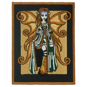 Tan & Black Fairy Rectangle Patch, Ladies Fairy Patches