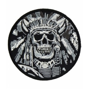 Indian Chief Skull Black & White Patch, Indian Skull Patches