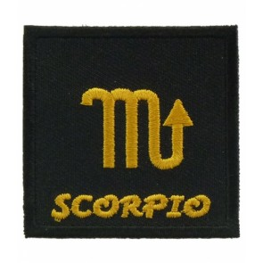 Zodiac Sign Scorpio Black & Gold Patch, Zodiac Patches