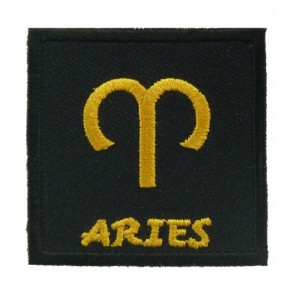 Zodiac Sign Aries Black & Gold Patch, Zodiac Patches