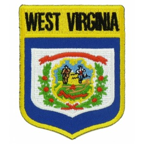 West Virginia State Flag Shield Patch, 50 State Flag Patches