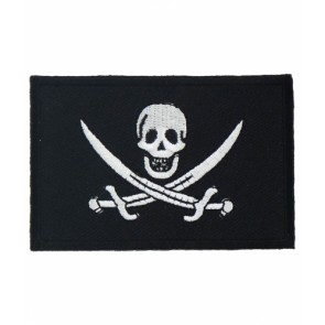 Pirate Flag Black & White Patch, Pirate Patches