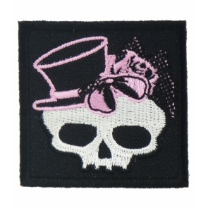 Girly Skull Pink Bow & Top Hat Patch, Ladies Skull Patches