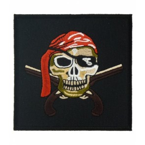Pirate Skull & Guns Square Patch, Pirate Skull Patches