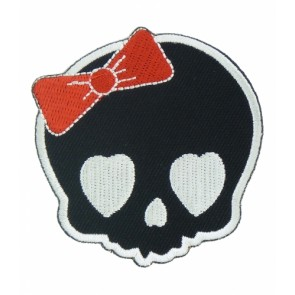Girly Skull Red Bow Patch, Ladies Skull Patches