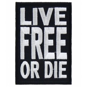 Live Free or Die Black & White Patch, Patriotic Patches